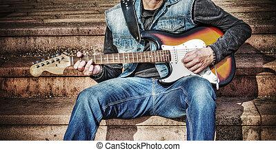 gitarrist, mit, a, bunte, elektrische gitarre, in, hdr