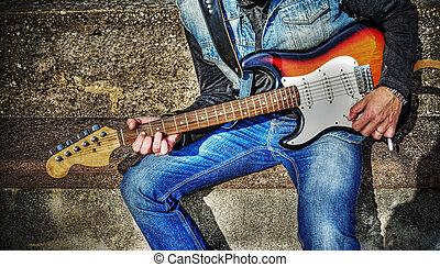 gitarrist, mit, a, bunte, gitarre, in, hdr