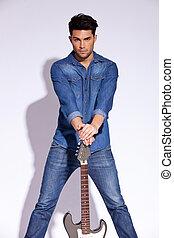 gitarrist, mode, junger
