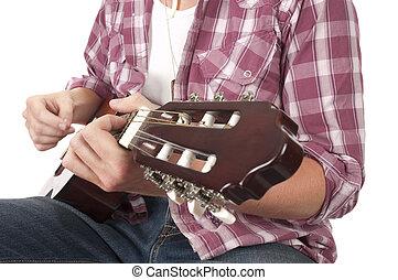 gitarrist, spielende , in, closeup