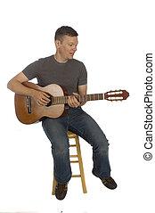 gitarrist, spielende , seine, gitarre