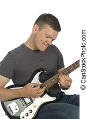 gitarrist, spielende , weiß
