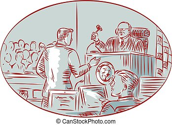 giudice, imputato, acquaforte, aula