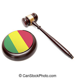 giudice, martelletto, e, soundboard, con, bandiera nazionale, su, esso, -, mali