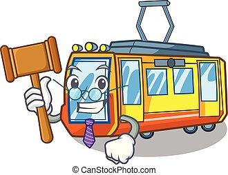 giudice, miniatura, treno elettrico, in, cartone animato,...