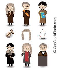 giudice, set, cartone animato, icona
