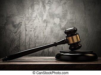 giudice, tavola, martello, legno