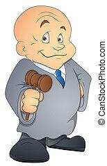 giudice, vettore, carattere, cartone animato