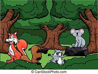 giungla, animale, scena