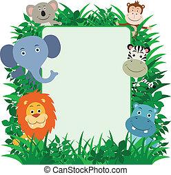 giungla, animali, cornice
