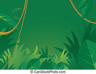 giungla, fondo, con, copyspace