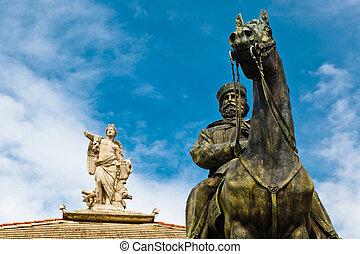 Giuseppe Garibaldi Statue and Muse with Harp in Genoa, Italy