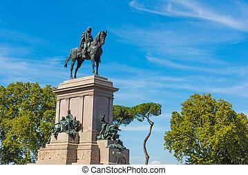 Giuseppe Garibaldi statue in Janiculum promenade, Rome