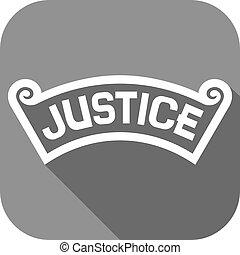 giustizia, appartamento, concetto, icona