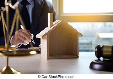 giustizia, assicurazione casa, concetto, legge