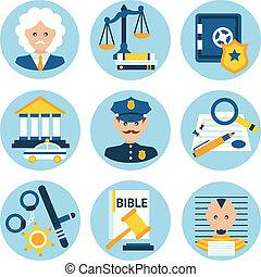 giustizia, legge, polizia, icone
