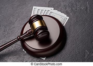 giustizia, martelletto legno, corte, simbolo, dollari