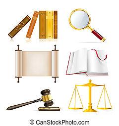 giustizia, realistico, set, oggetti