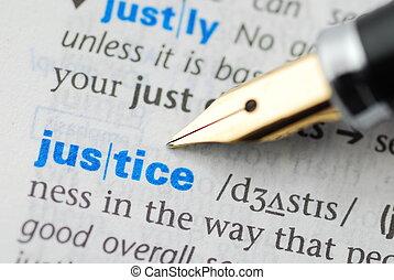 giustizia, serie, -, dizionario