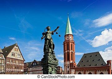 giustizia, signora, francoforte, statua