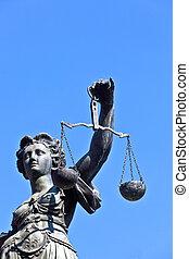giustizia, signora, -, romer, germania, statua, fronte,...