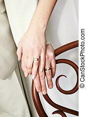 giusto, coppia, sposato, anelli, su, loro, esposizione