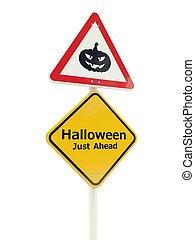 giusto, halloween, avanti, segno strada