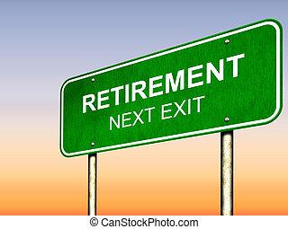 giusto, pensionamento, avanti, segno strada