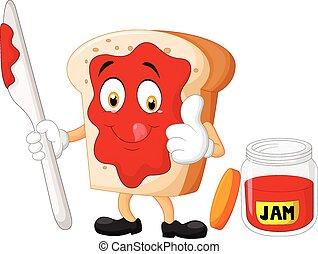 giv, fatia pão, geleia, caricatura
