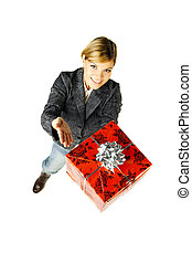 Give a Gift 2 - Beautiful woman with boxed gift in her hands