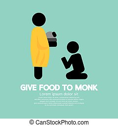 Give Alms To Monk Symbol Vector Illustration