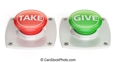 give and take push button, 3D rendering