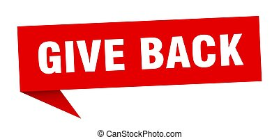 give back banner. give back speech bubble. give back sign
