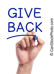 Give back - Hand with marker writing Give Back on ...