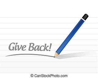 give back message illustration design over a white...