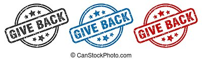 give back stamp. give back round isolated sign. give back ...