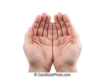 give, begreb, åbn, hands., holde