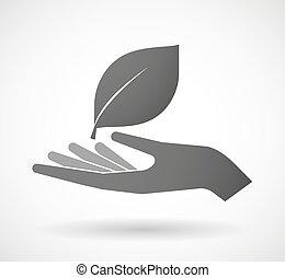 give, blad, hånd