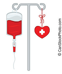 Blood donation with bag, drip holder and healthy heart. Save lives! Isolated over white background. Vector file saved as EPS AI8, no effects, easy print and edit.
