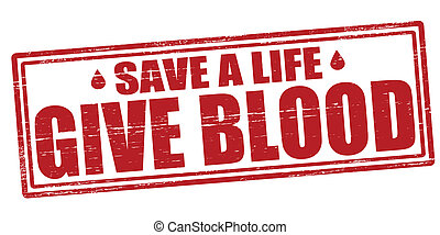 Stamp with text give blood inside, vector illustration