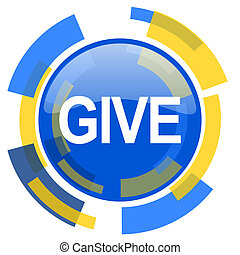 give blue yellow glossy web icon