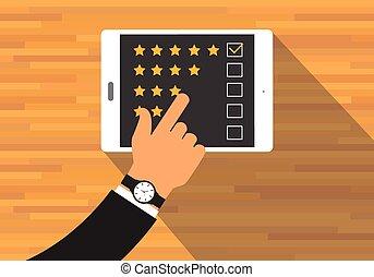 give feedback rating use tab or digital device
