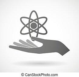give, hånd, atom