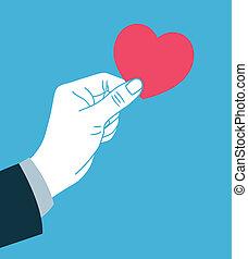 give, hjerte, symbol, hånd