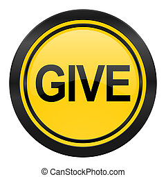 give icon, yellow logo,