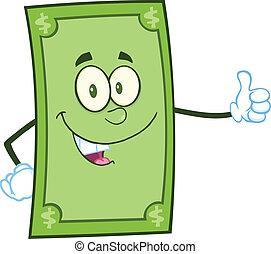 give, karakter, dollar, tommelfinger oppe