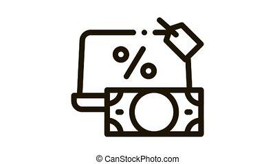 give laptop to pawnshop Icon Animation. black give laptop to pawnshop animated icon on white background