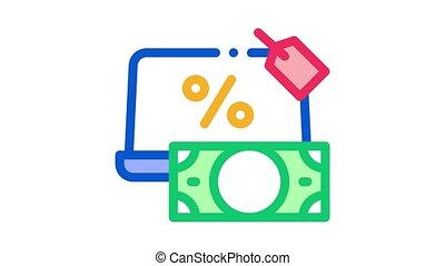 give laptop to pawnshop Icon Animation. color give laptop to pawnshop animated icon on white background