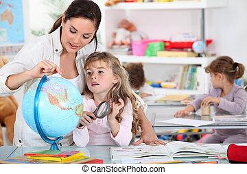 give, lektion, lærer, geografi