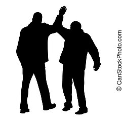 Give me five gesture between two successful businessmen
